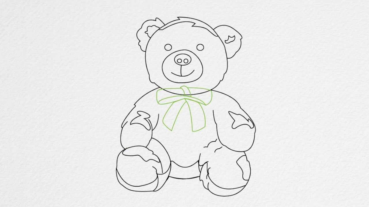 how to draw a teddy bear with a rose