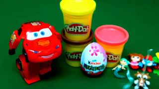 Car toy and Kinder Surprise egg with Play Doh surprise toys play