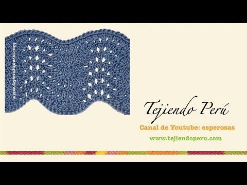 Fotos e instrucciones en mi página: http://goo.gl/fQSP2 aquí encontrarás muchos tutoriales más: http://www.tejiendoperu.com/ Punto calado que forma ondas es los bordes.