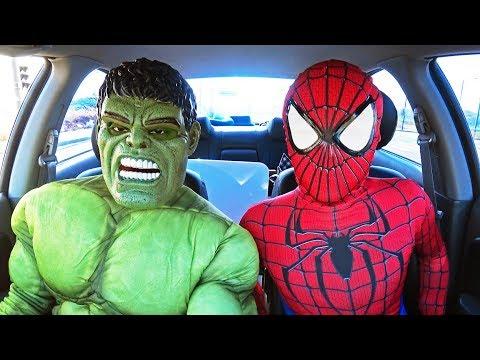 Superheroes Surprise Spiderman & Hulk With Dancing Car Ride!