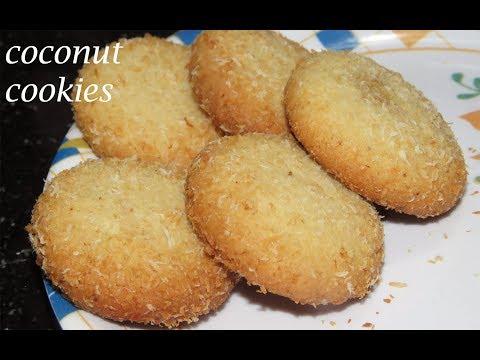 కొబ్బరి బిస్కెట్లు ఇలా చేయండి ఎంత బాగుంటాయో-Eggless Coconut Cookies without Oven-Coconut Biscuits