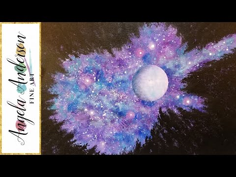 GALAXY GUITAR Beginner Acrylic Painting Step by Step Tutorial Moon Night Sky Forest