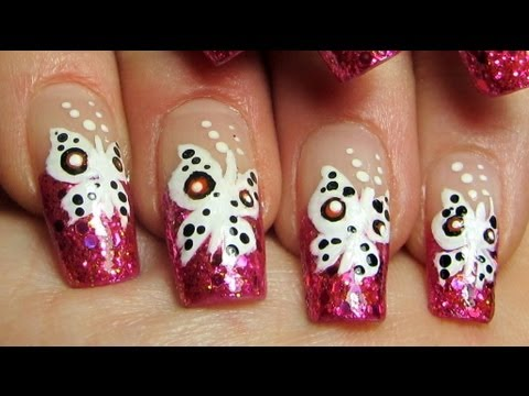 Hot Pink Glitter Tips with Apollo Butterflies Design Nail Art Tutorial