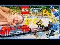 Lego City Train Set with Backhoe and Crane   Heavy Haul Time Lapse Build!