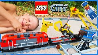 Lego City Train Set with Backhoe and Crane | Heavy Haul Time Lapse Build!