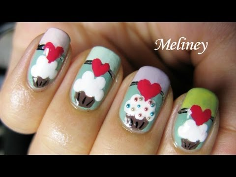PASTEL CUPCAKE NAILS!! Simple Easy Rainbow Candy SWEETS Colored Cupcake Nail Art Design Tutorial