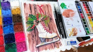 LIVE: Wintery Ice Skates in Watercolor/Mixed Media
