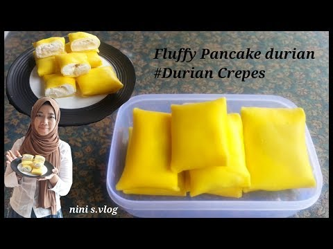 Fluffy Durian crepe #pancake durian resep
