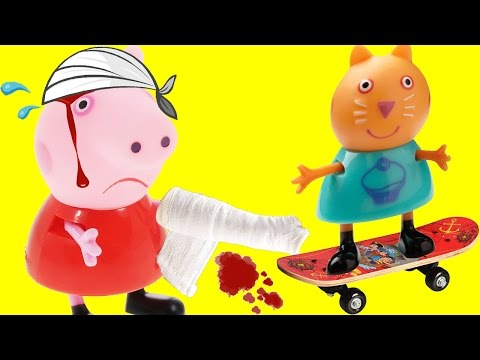 Свинка пеппа сломала руку катаясь на скейте! Мультик игрушками для детей!