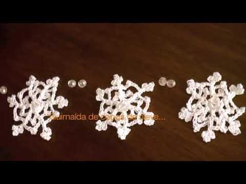 Copo de nieve tejido en crochet