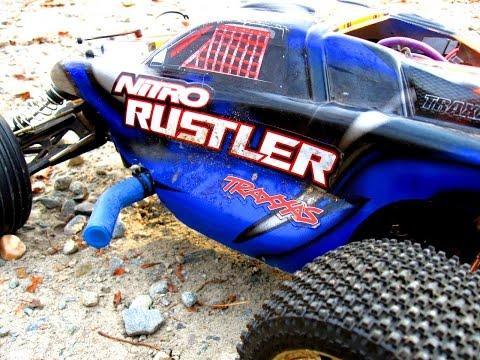Extreme Massive RC Stunt Jump: Fast Traxxas Nitro Rustler Truck