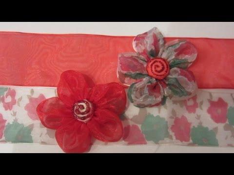 Cómo hacer flores de cinta de organza. How to make organza Flowers.