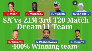 SA vs ZIM 3rd T20 Match Dream11 Team || South Africa vs Zimbabwe Dream11 & Playing11 || My Dream11