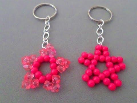 Como hacer un llavero estrella con perlas y cadena ( llaveros #10)