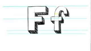 M Alphabet In 3d How to Draw 3D Letters F - Uppercase F and Lowercase f in 90 seconds ...