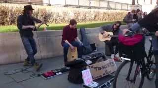 The Trouble Notes, Esperanto (violin, cajon, guitar) - Busking in the Streets of London, UK