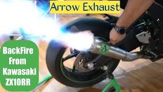 Kawasaki ZX10RR Ultimate Exhaust Sound - Brutal Flames and Backfire   Arrow Exhaust
