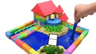 DIY How To Make Garden House with Kinetic Sand, Mad Mattr, Slime, Straws