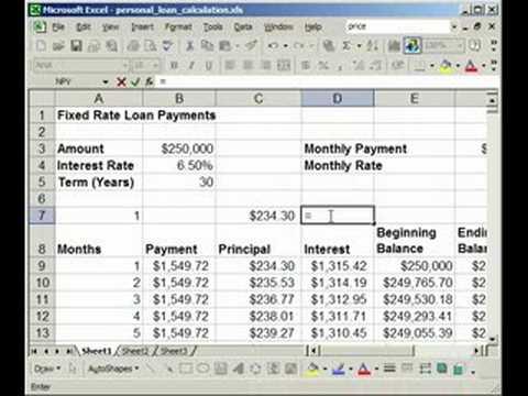 mortgage calculation formula excel