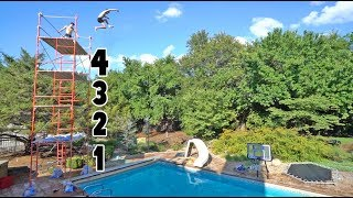 BACKYARD CLIFF JUMPING!! *FOUR STORIES*