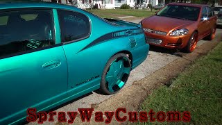 2000 Candy Teal Monte Carlo With Fiberglass Interior / 2006 Candy Orange Impala On 22