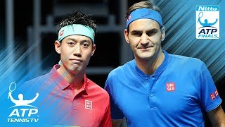 Nishikori stuns Federer Anderson wins on debut   2018 Nitto ATP Finals Highlights Day 1