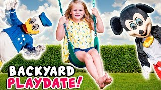 Paw Patrol and Donald Duck Pretend Play Outdoor Fun with the Assistant