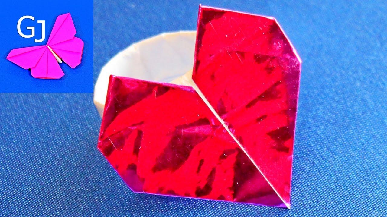Как сделать из бумаги кольцо сердце