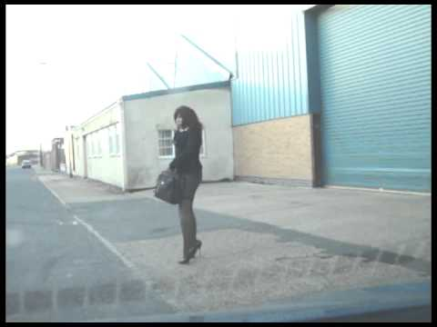 Outdoor Street Walking Transvestite Business Woman - Loitering in an Industrial Estate