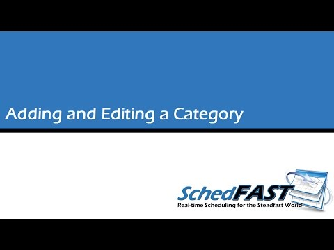Adding and Editing a Category