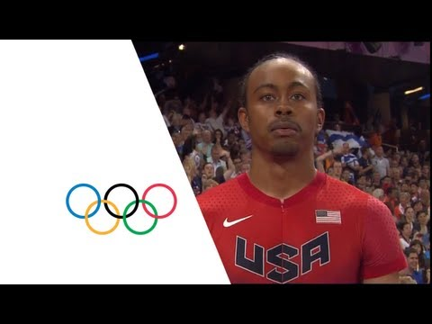 The USA's Aries Merritt wins the gold medal in the men's 110m hurdles event at the London 2012 Olympic Games (8 August). Merritt was followed by his compatri...