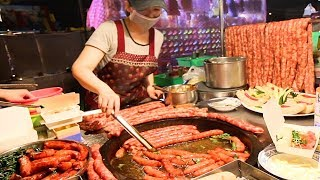 Street Food in Taiwan - MASSIVE Sausage BBQ at Tainan Night Market | BEST Taiwanese Street Food