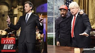 'SNL' Rewind: Seth Meyers Hits the News Desk Again & Alec Baldwin Makes Fun of Kanye West | THR News