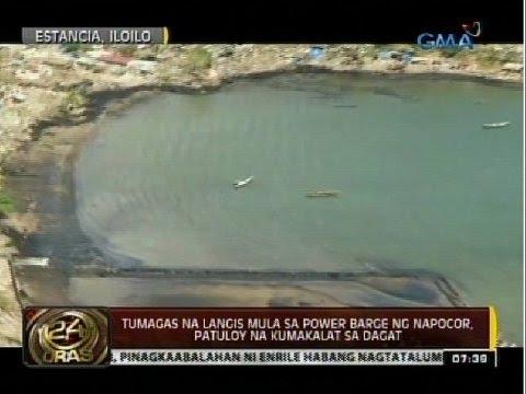 Tumagas na langis mula sa power barge ng Napocor, patuloy na kumakalat sa dagat