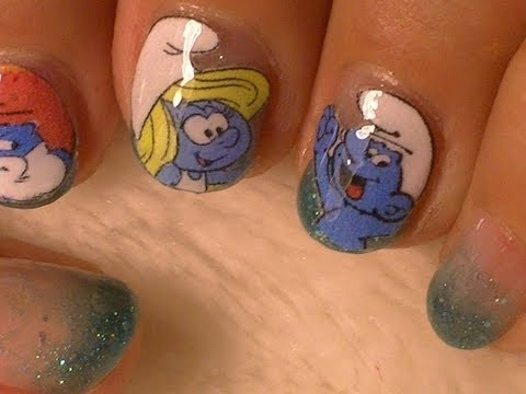 Smurfs Nail Art -- No Drawing Needed!