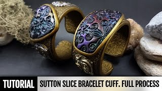 DIY How to make Unique Sutton Slice Bracelet Cuff. Polymer clay Jewelry making. VIDEO Tutorial!