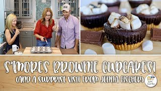 S'mores Brownie Cupcakes! (with a surprise visit from Jenna Fischer)   Baking With Josh & Ange