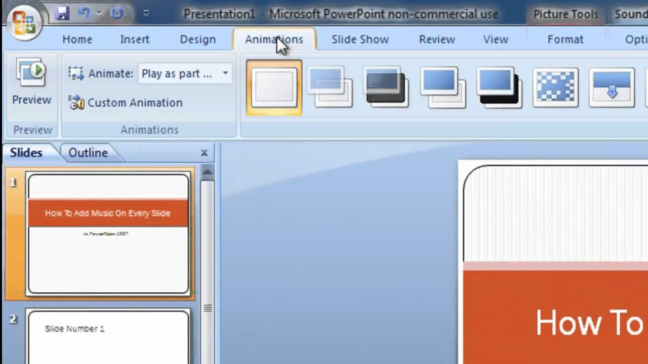 Add music to PowerPoint presentation