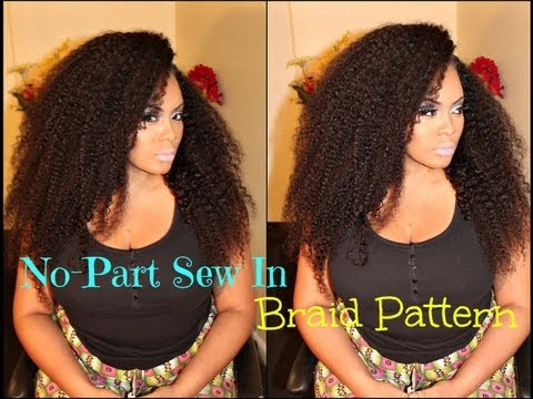 No-Part Sew in Braid Pattern with Sway Hair  - KINKY TEXTURE