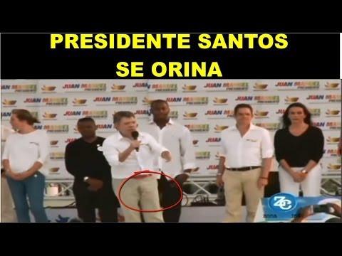 Presidente santos hace pipi en los pantalones, santos se orina, orinada presidente santos