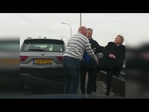 Hysterische verkeersruzie in België