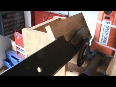 DIY lawnmower blade sharpening jig fixture