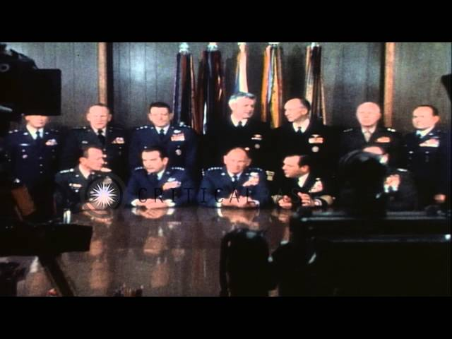 Bolex movie camera and still cameras photograph the United States Joint Chiefs of...HD Stock Footage