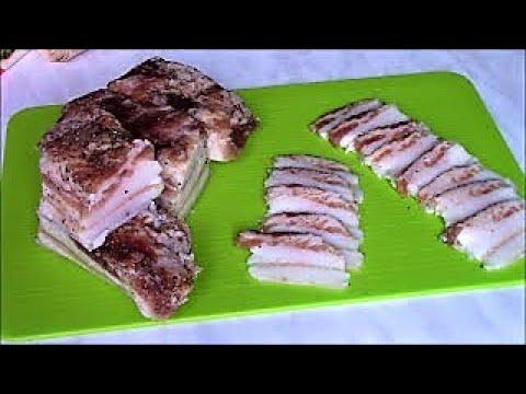 Грудинка , соленая сухим способом ,  или как приготовить вкусное домашнее сало .