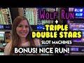 Triple Double Stars!! NICE WIN! Wolf Run Slot Machine BONUS!