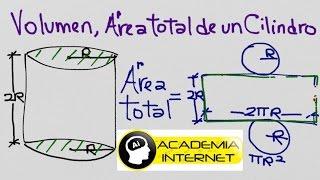 Como calcular el Área total y volumen de un cilindro