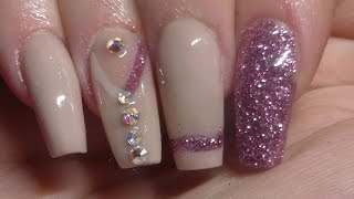 Acrylic Nails | Nude And Pink Glitter