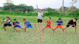KuMin With Best Friends Competition Tug Of War Who Is Winner Outdoor Playground