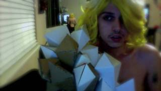 Lady Gaga Telephone Head Piece And Origami Monster Ball Dress