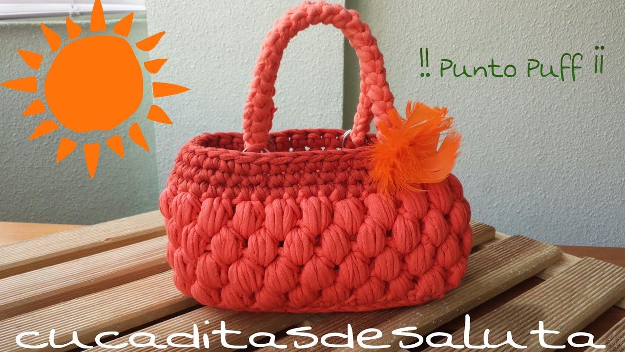 Bolso de trapillo punto puff handbag of trapillo - Como hacer un puff de trapillo ...
